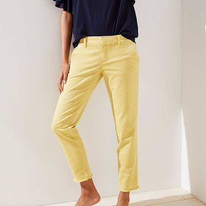 Loft frayed girlfriend chinos pants yellow 2